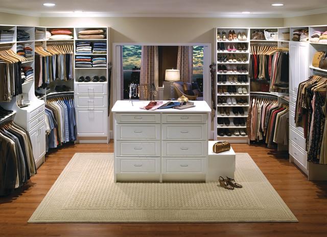 Custom Walk In Closet Organizers: White Contemporary Closet