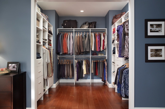 Custom walk in closet organizers white for Custom closet doors los angeles