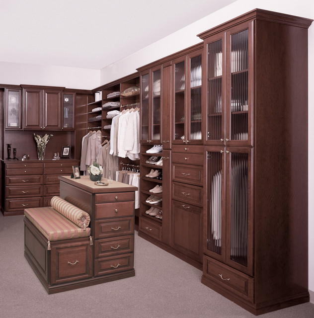 Custom Walk-In Closet with Island and Bench - Traditional ...