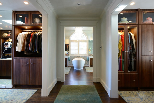 Elegant Gender Neutral Closet Photo In Dallas With Dark Wood Cabinets