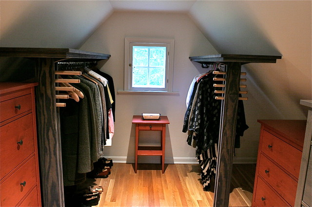 dormer closet shelves w folly hanging rods modern