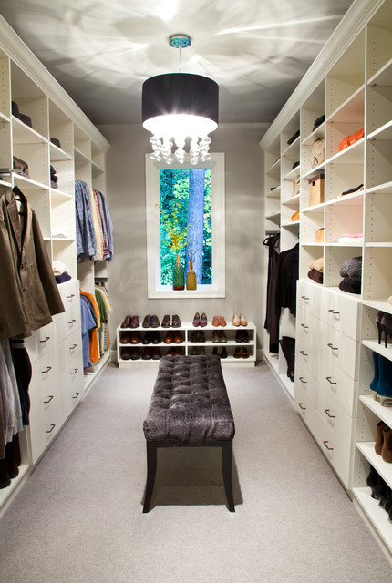 Dressing Room Transitional Carpeted Idea In Los Angeles With Open Cabinets And White