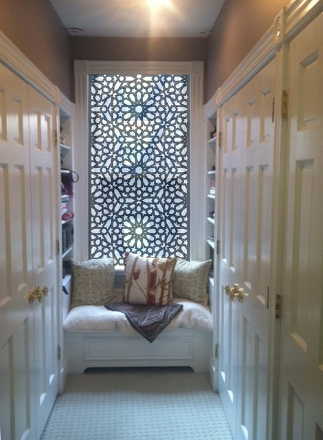 Delia Shades Custom Solar Shade in Star Jali pattern eclectic closet