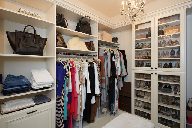 Elegant Antique White Women S Walk In Closet Traditional Wardrobe Dc Metro By Tailored Living Featuring Premiergarage Houzz Ie