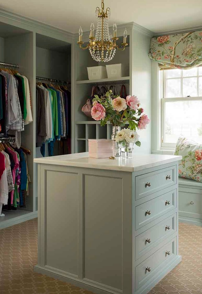 Example of a mid-sized classic women's carpeted and beige floor dressing room design in Los Angeles with shaker cabinets and green cabinets