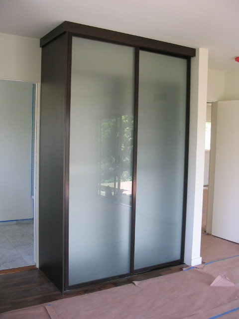 Lovely Free Standing Closet, Acid Etched Wardrobe Doors Contemporary Closet