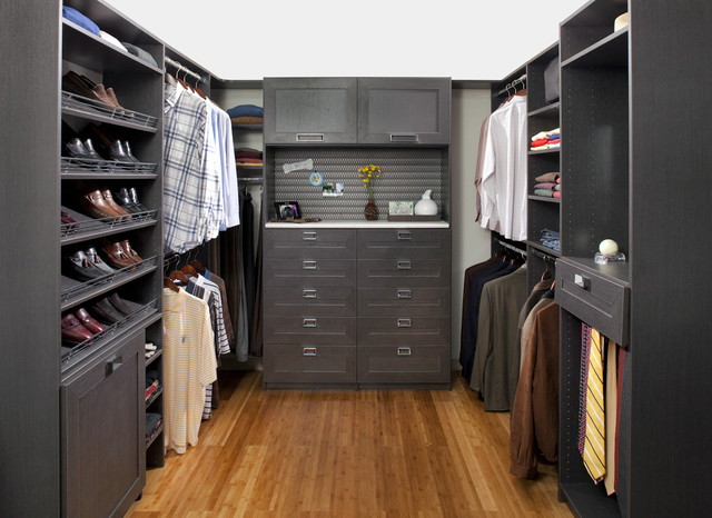 Inspiration For A Modern Walk In Closet Remodel In Philadelphia With Shaker  Cabinets And Black