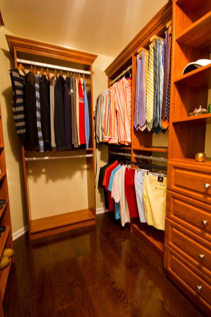 Handsome Mens walk-in closet traditional-closet