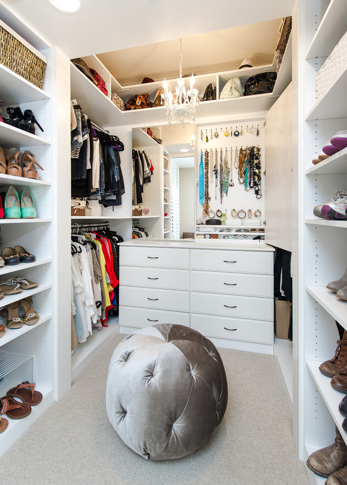 Example of a small transitional women's carpeted and gray floor walk-in closet design in Los Angeles with white cabinets and raised-panel cabinets