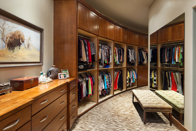 Dressing Room   Traditional Dressing Room Idea In Austin With Open Cabinets  And Dark Wood Cabinets