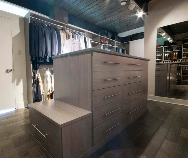 His & Hers Driftwood Closet contemporary-closet
