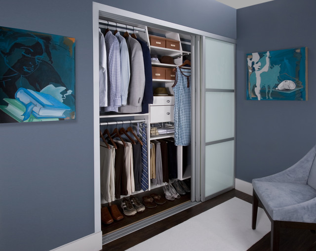 his hers reach in closet contemporary closet other