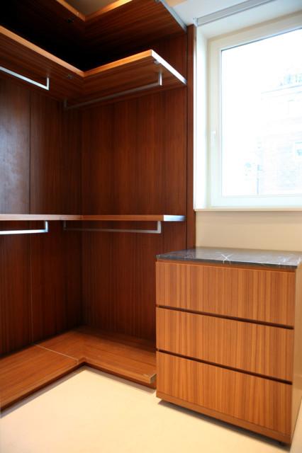 "Closet Floor Limestone His closet - vertical grain teak, ""New St. Laurent"" marble, limestone"