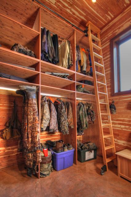Hunting Closet In Garage Addition Rustic Closet