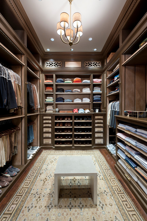 Large walk-in closet with plenty of storage space.