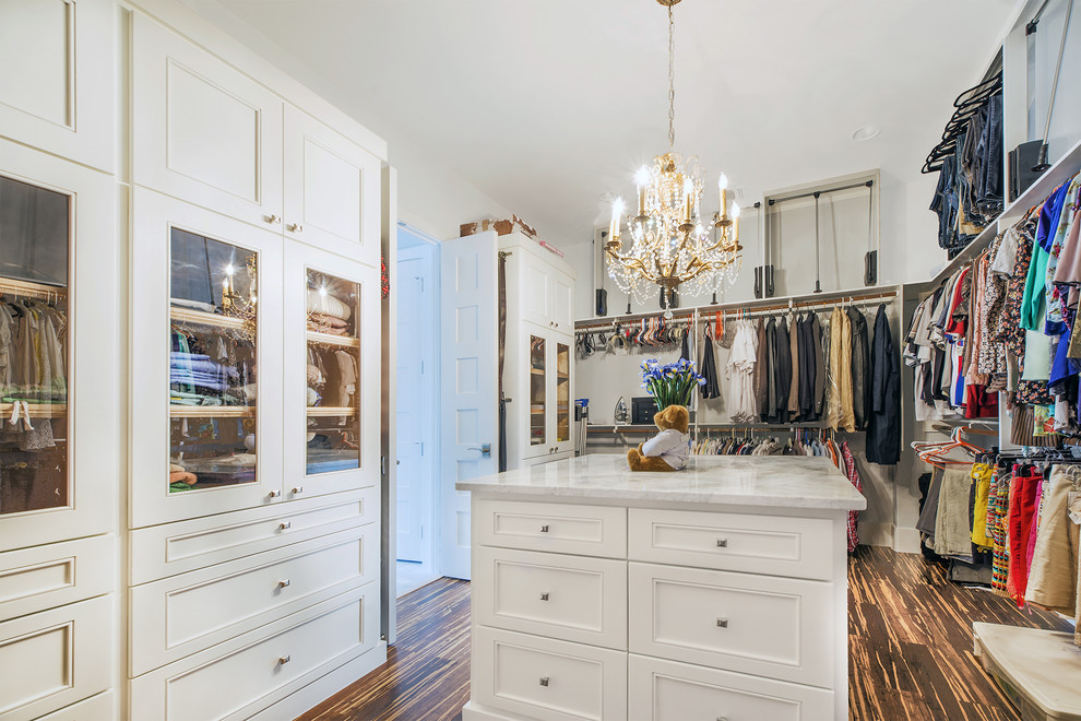 Example of a transitional closet design in Austin