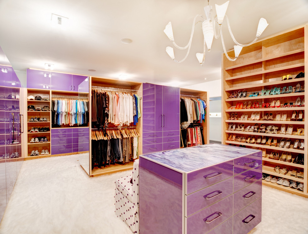 Dressing room - contemporary dressing room idea in Atlanta with open cabinets and medium tone wood cabinets