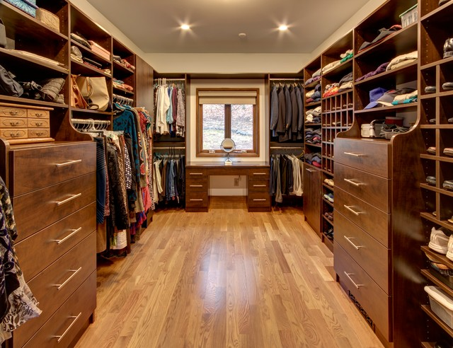 Large Custom Walk In Closet In Chocolate Pear Tree Finish