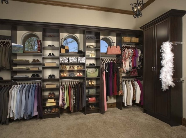 Large his and hers walk in contemporary closet for His and hers wardrobe