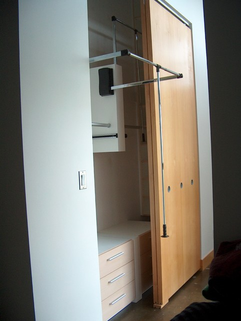 Loft closet behind sliding doors contemporary-closet & Loft closet behind sliding doors - Contemporary - Closet - Toronto ...