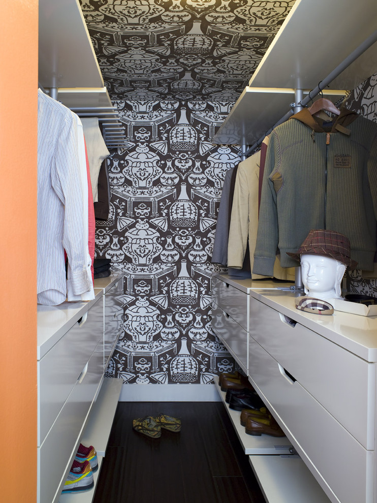 Inspiration for a contemporary men's walk-in closet remodel in Los Angeles with flat-panel cabinets and white cabinets
