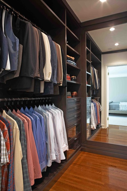 Inspiration For A Contemporary Menu0027s Medium Tone Wood Floor Walk In Closet  Remodel In Los
