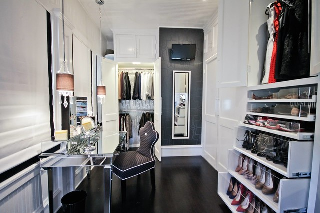 Lux Home Dressing Room - Transitional - Closet - austin - by Liz Light Interiors