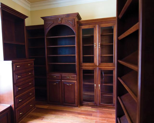 Luxury Closet Design Dark Wood Whitmire Custom Homes