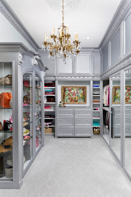 Master Bathroom With His And Hers Closets Victorian
