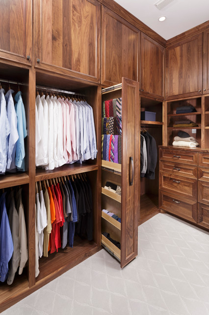 Master Bathroom With His And Hers Closets Traditional