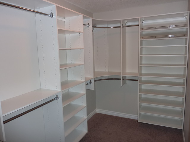 Master Bedroom Closet With Shoe Shelving On Right Modern