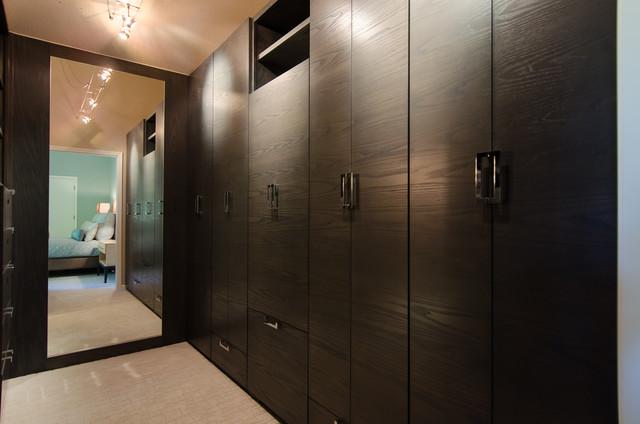 Master Bedroom Walk Through Closet Custom Cabinetry Contemporary Closet Portland By
