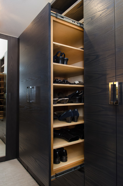 Master Bedroom Walk Through Closet Custom Cabinetry Contemporary Closet Portland By