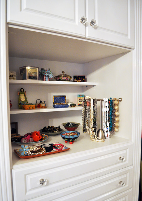 Master Closet in White High Gloss traditional-closet
