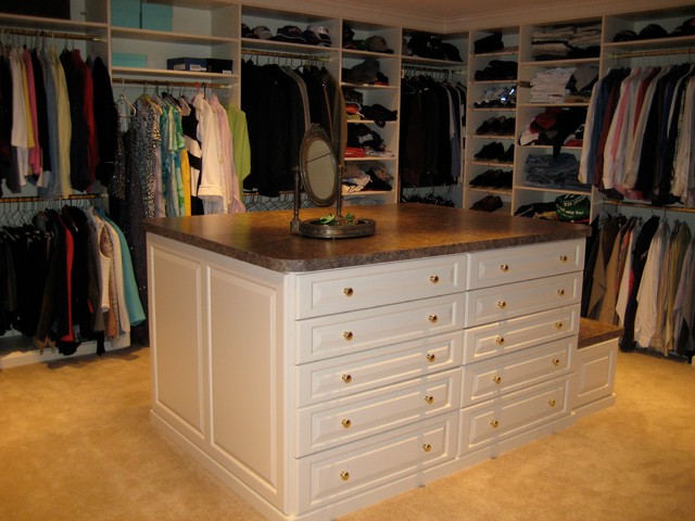 Master Closet With Island Traditional Closet Boston