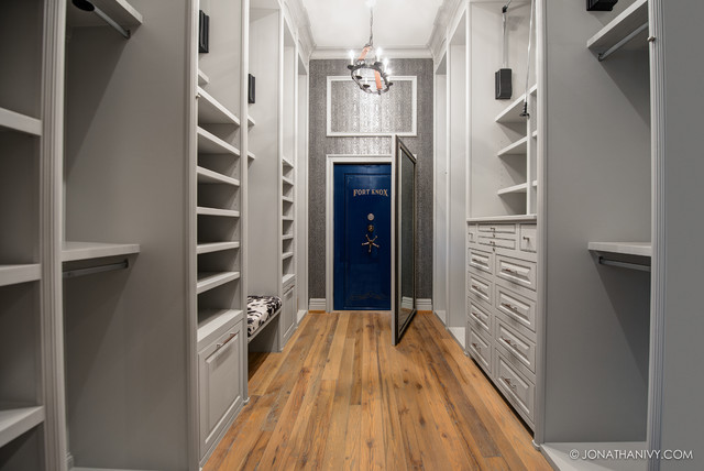 master closet with walk in safe contemporary closet