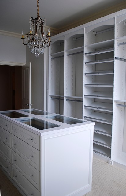Master Dressing Room with Island, Shoe Fences & Rosettes - Traditional - Closet - Baltimore - by ...