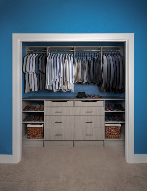 Menu0027s Reach In Closet Organizer In A Concrete Finish With Flat Panels  Contemporary Closet