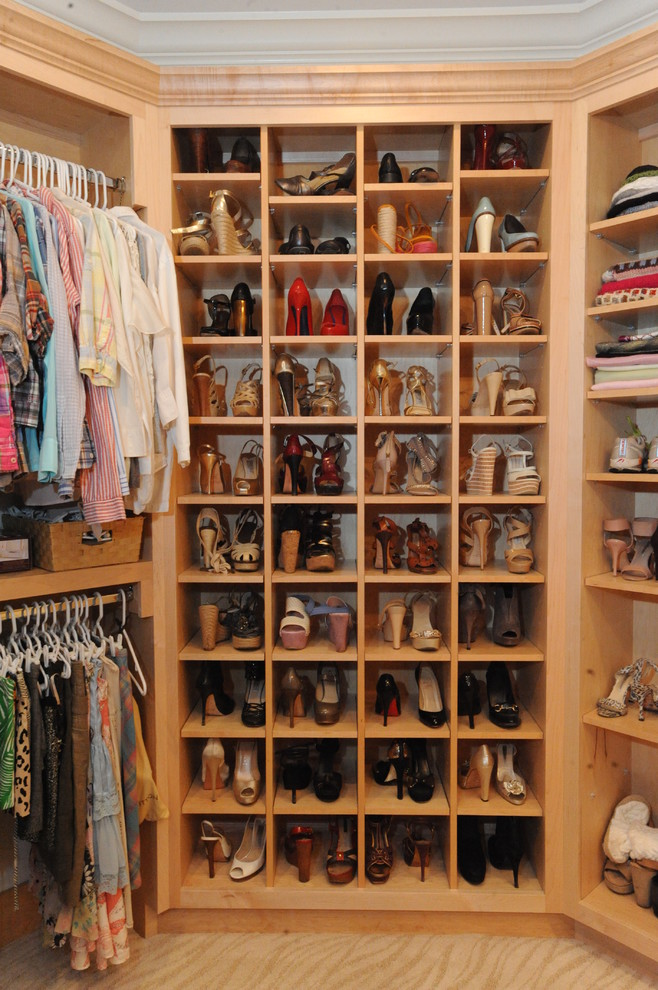 Closet - traditional women's carpeted and beige floor closet idea in Atlanta with open cabinets and light wood cabinets