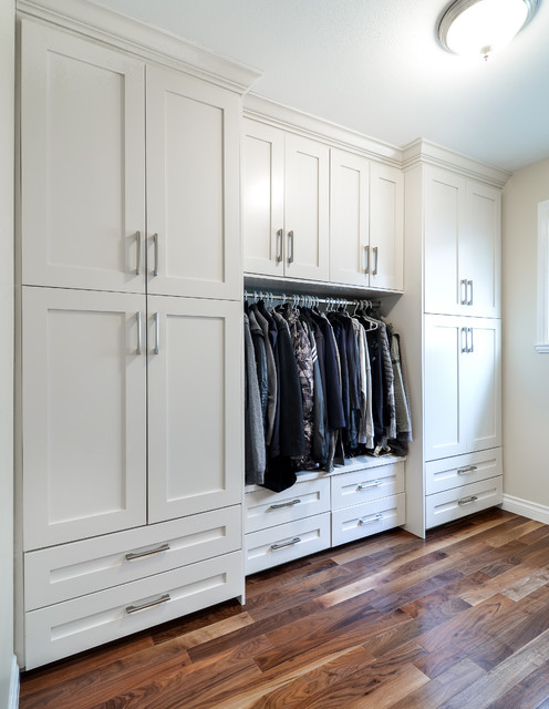 Beautiful Modern Closet With Shaker Style Cabinets Vancouver Modern Wardrobe