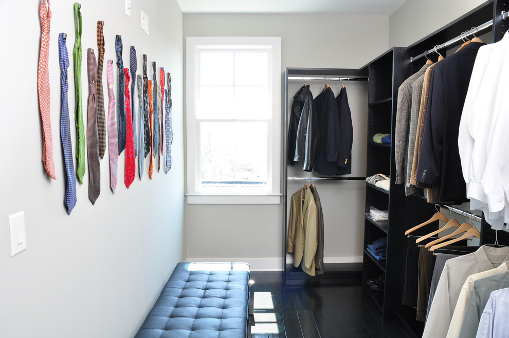 Inspiration for a contemporary men's closet remodel in Atlanta with open cabinets and black cabinets