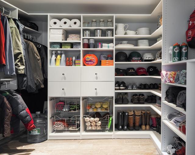 Inspiration For A Large Timeless Gender Neutral Ceramic Floor Walk In  Closet Remodel In