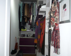 my messy walk-in wardrobe traditional closet