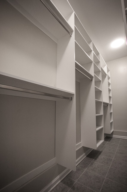 Narrow room walking closet contemporary-closet