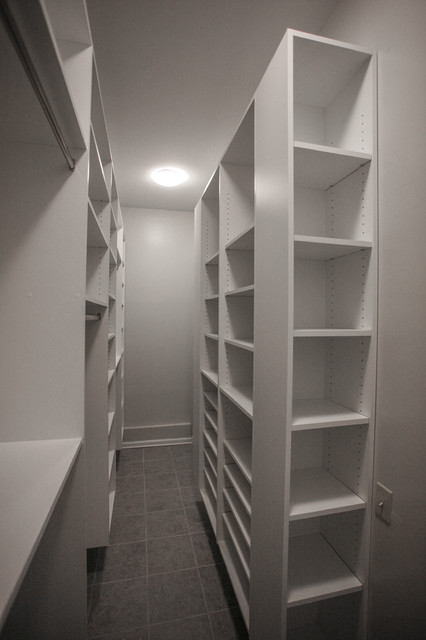 Narrow Room Walking Closet Contemporary Closet
