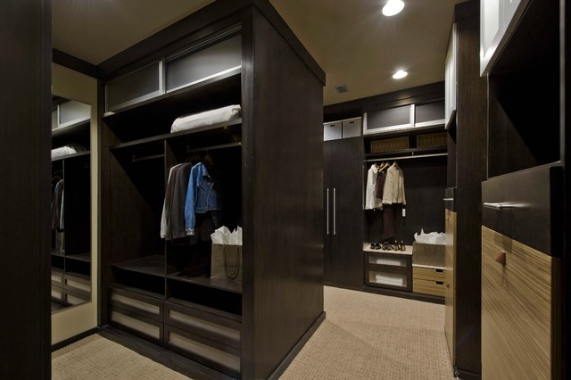 Marvelous Example Of A Minimalist Closet Design In Denver With Dark Wood Cabinets