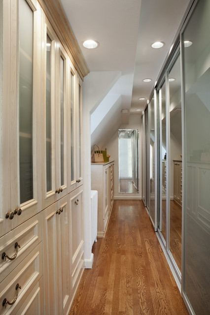 Natural Maple Wood Dressing Room with Sliding Doors - Traditional - Closet - New York - by ...