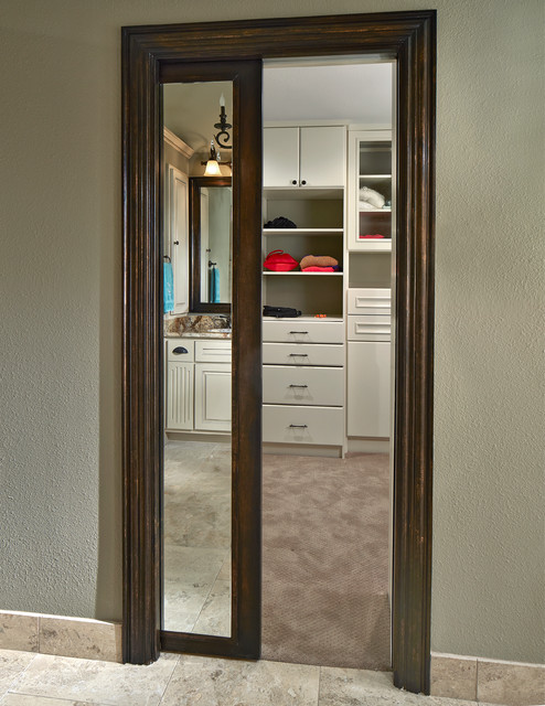 Old shepard framed mirror pocket door transitional