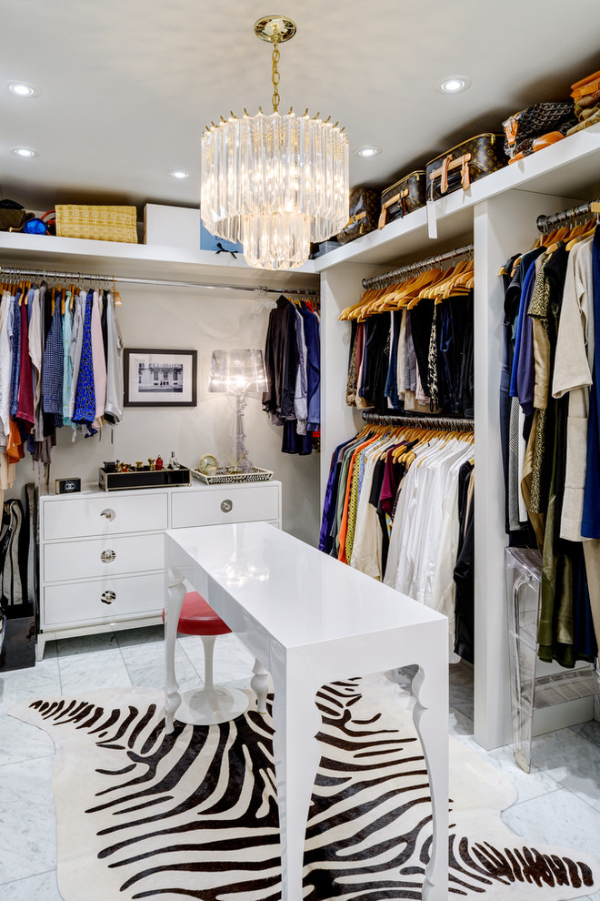 Walk-in closet - contemporary women's marble floor walk-in closet idea in Seattle with open cabinets and white cabinets