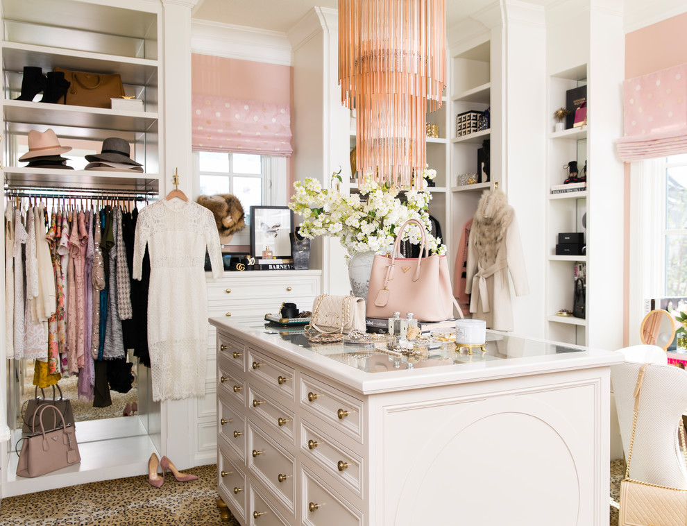 Example of a classic women's carpeted and multicolored floor dressing room design in Salt Lake City with open cabinets and white cabinets